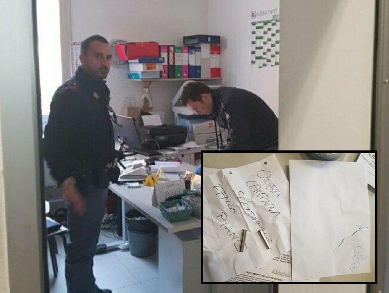 La polizia indaga e la lettera e i proiettili sono attualmente in questura!