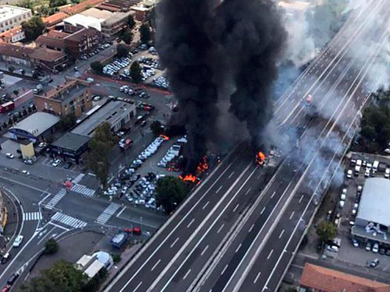 Esplosione tangenziale Bologna: Vigili Urbani in prima linea!