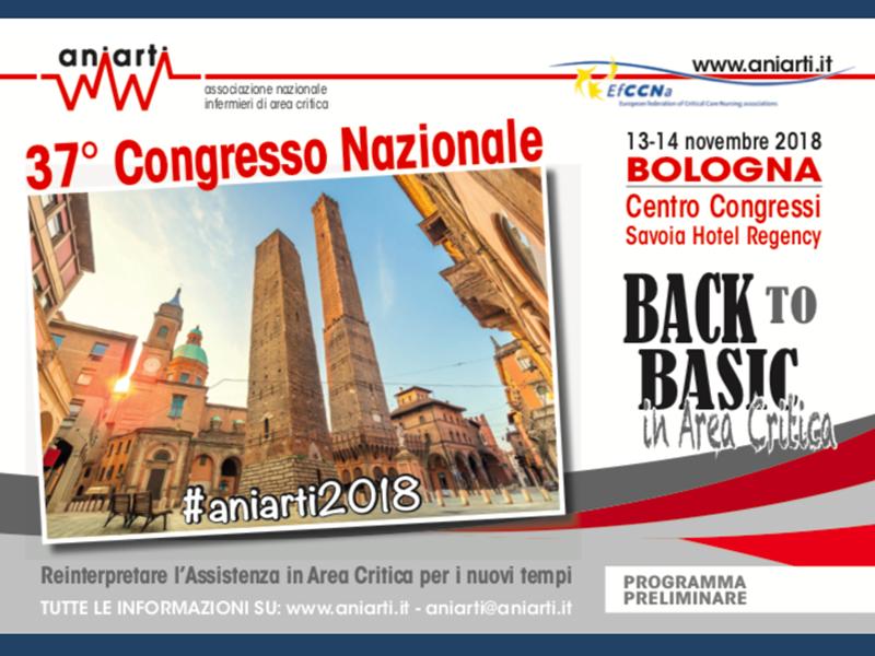 Aniarti 2018: Infermieri di area critica a raduno a Bologna. 37° congresso.
