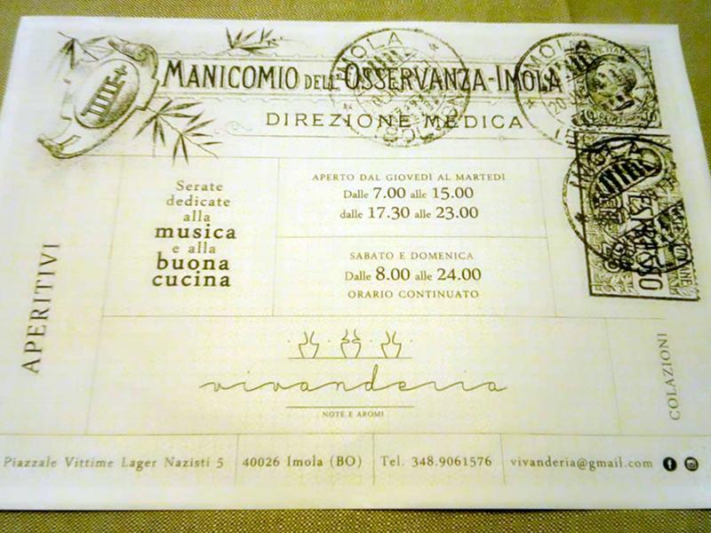 Le 'tovagliette' utilizzate dalla Vivanderia.