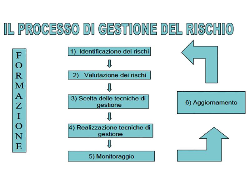 Il Processo di gestione del rischio, Fonte: Gregis R., L. Marazzi - Il Risk Management nelle Aziende Sanitarie - Franco Angeli, 2003