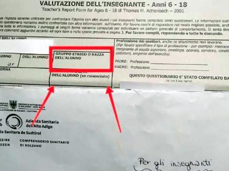 ASL di Bolzano presenta questionario razzista a scuola: polemiche e figuracce.