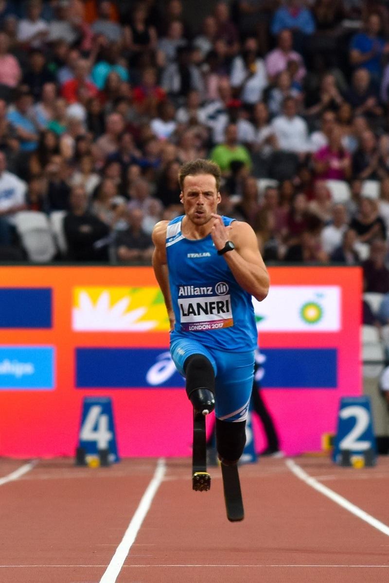 Andrea a Londra nel 2017 finale dei 100mt Ph Mauro Ficerai FISPES.