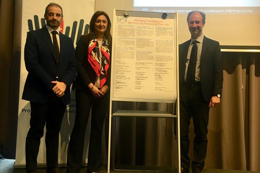 Federazione Infermieri firma Manifesto Interreligioso Diritti Percorsi di Fine Vita.