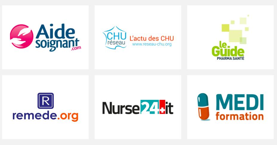 Alcuni dei marchi del Group Profession Santé, tra cui Nurse24.it.