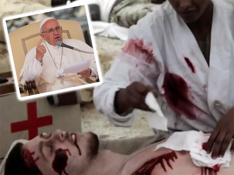Papa Francesco prega per Infermieri e Medici operanti nelle zone di guerra.