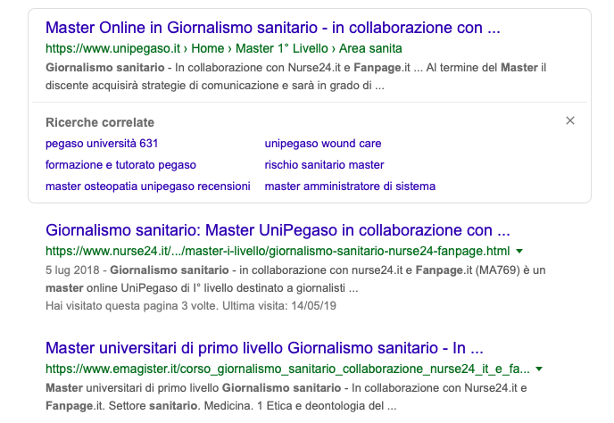 Cercando il Master in Giornalismo Sanitario su Google si nota che il Corso è organizzato da UniPegaso in collaborazione con Nure24.it e con FanPage. Misteriosamente, però, quando si clicca sul link suggerito dal motore di ricerca FanPage sparisce. Cosa è successo? Perché il quotidiano ha silurato gli organizzatori del Corso?