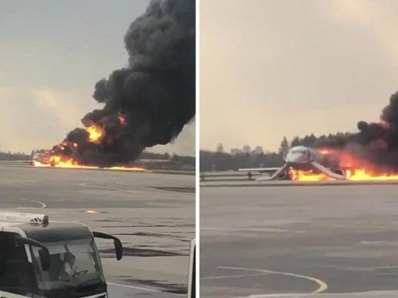 Le terribili immagini dell'incendio al veivolo