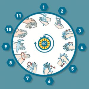 60 secondi e 11 azioni se vi lavate le mani con acqua e sapone antisettico.
