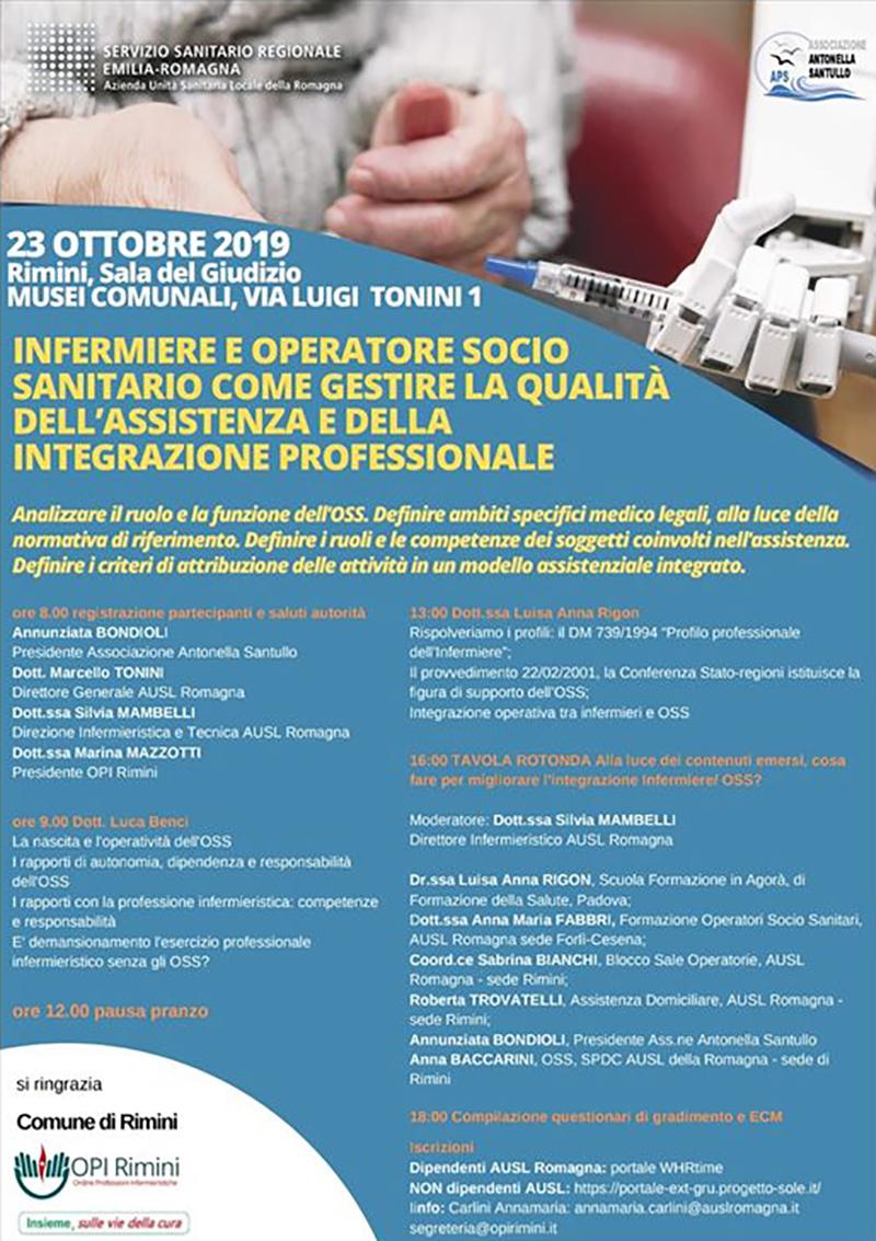 Il manifesto-programma dell'evento formativo destinato a Infermieri e OSS.