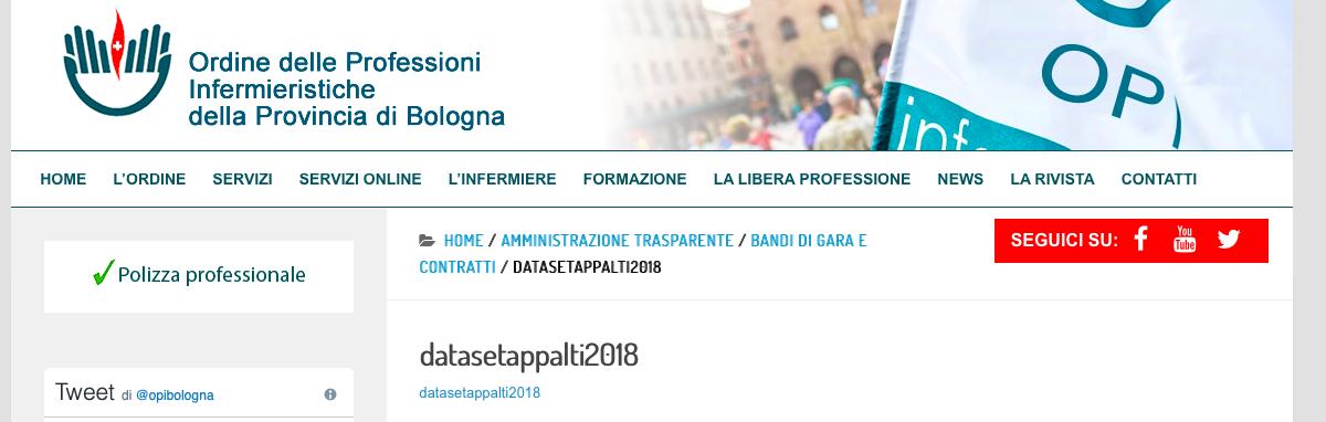 """L'area Amministrazione trasparente sul sito dell'OPI di Bologna. Cliccando su """"datasetappalti2018"""" viene fuori un testo illeggibile, che noi abbiamo suddiviso e interpretato."""