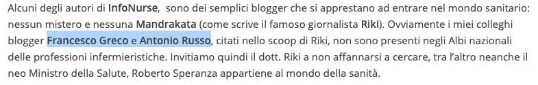 Nello stesso articolo si chiarisce che Antonio Russo (e anche Francesco Greco) non sono iscritti ad alcun Ordine infermieristico. E' o non è un infermiere?