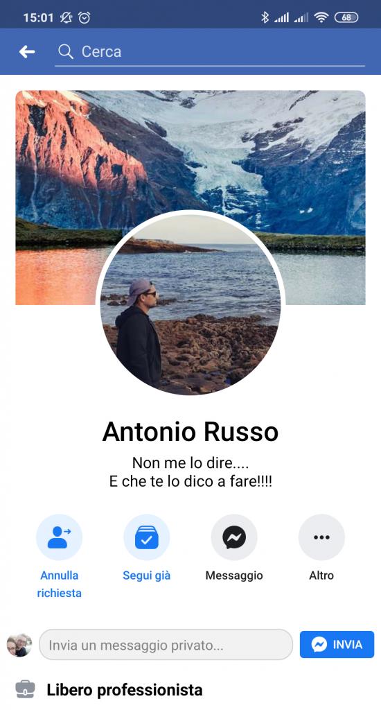 Su Facebook non indica di essere un Infermiere. Antonio Russo è qui solo un libero professionista.