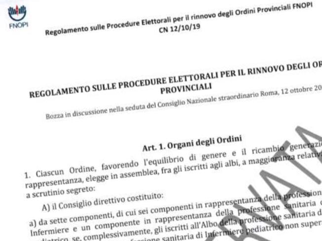 La bozza del Regolamento sulle Procedure Elettorali per il rinnovo degli Ordini Provinciali FNOPI.