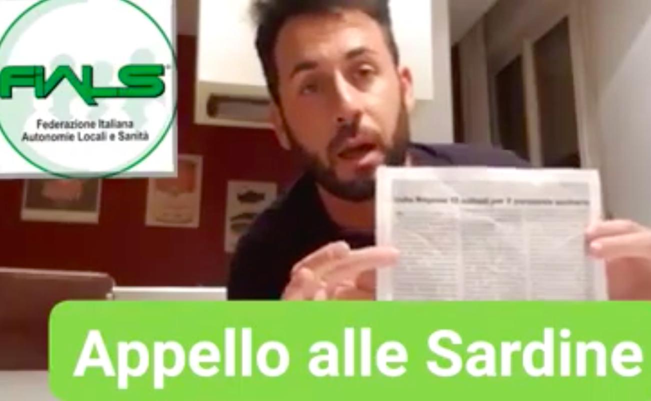 """Appello di FIALS alle #Sardine: """"se siete apolitiche scendente in piazza con Infermieri, Oss e Professionisti Sanitari""""."""