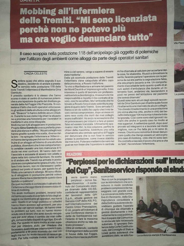 """Il servizio pubblicato sul quotidiano """"L'Attacco""""."""