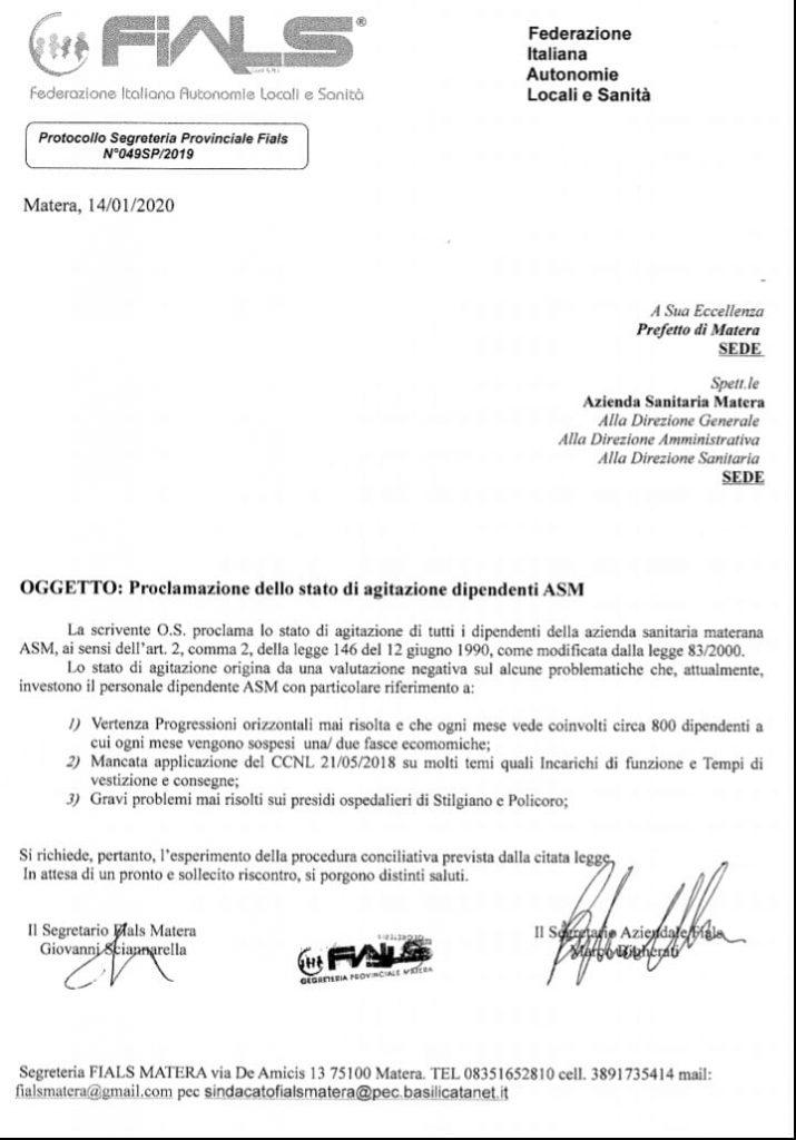 La lettera al Prefetto firmata da FIALS.