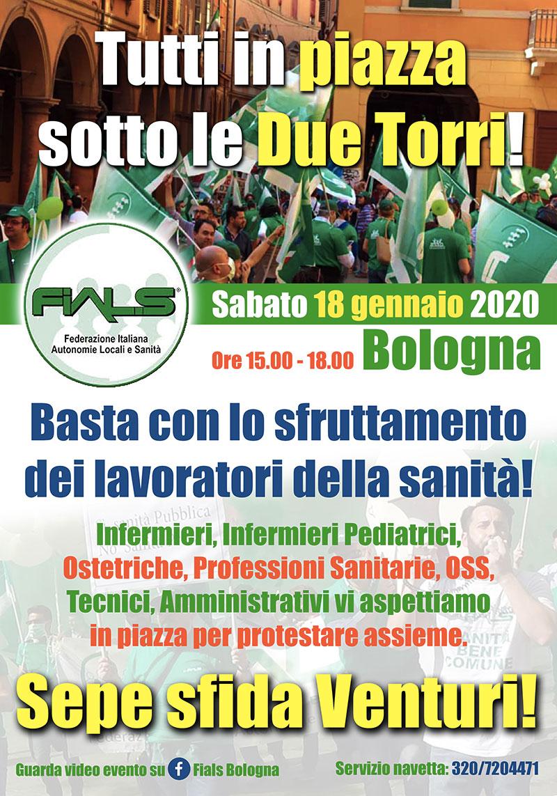 Il manifesto della manifestazione di piazza. Tutti a Bologna il 18 gennaio 2020.