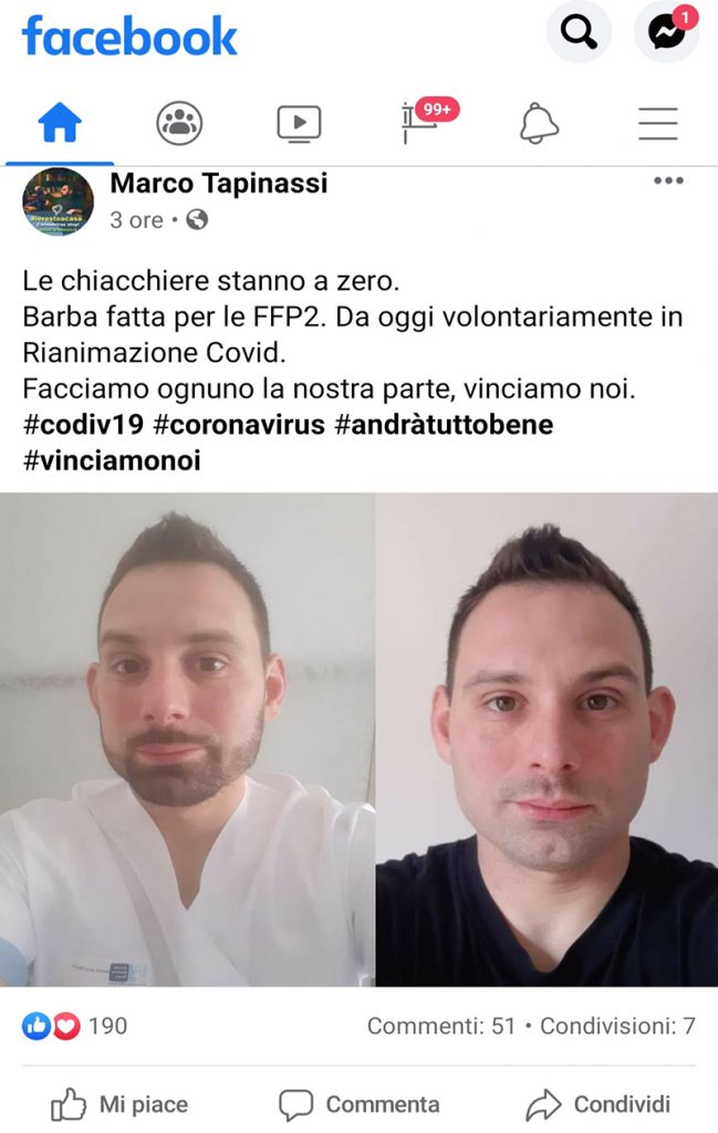 Il post di Marco Tapinassi sul suo profilo Facebook.