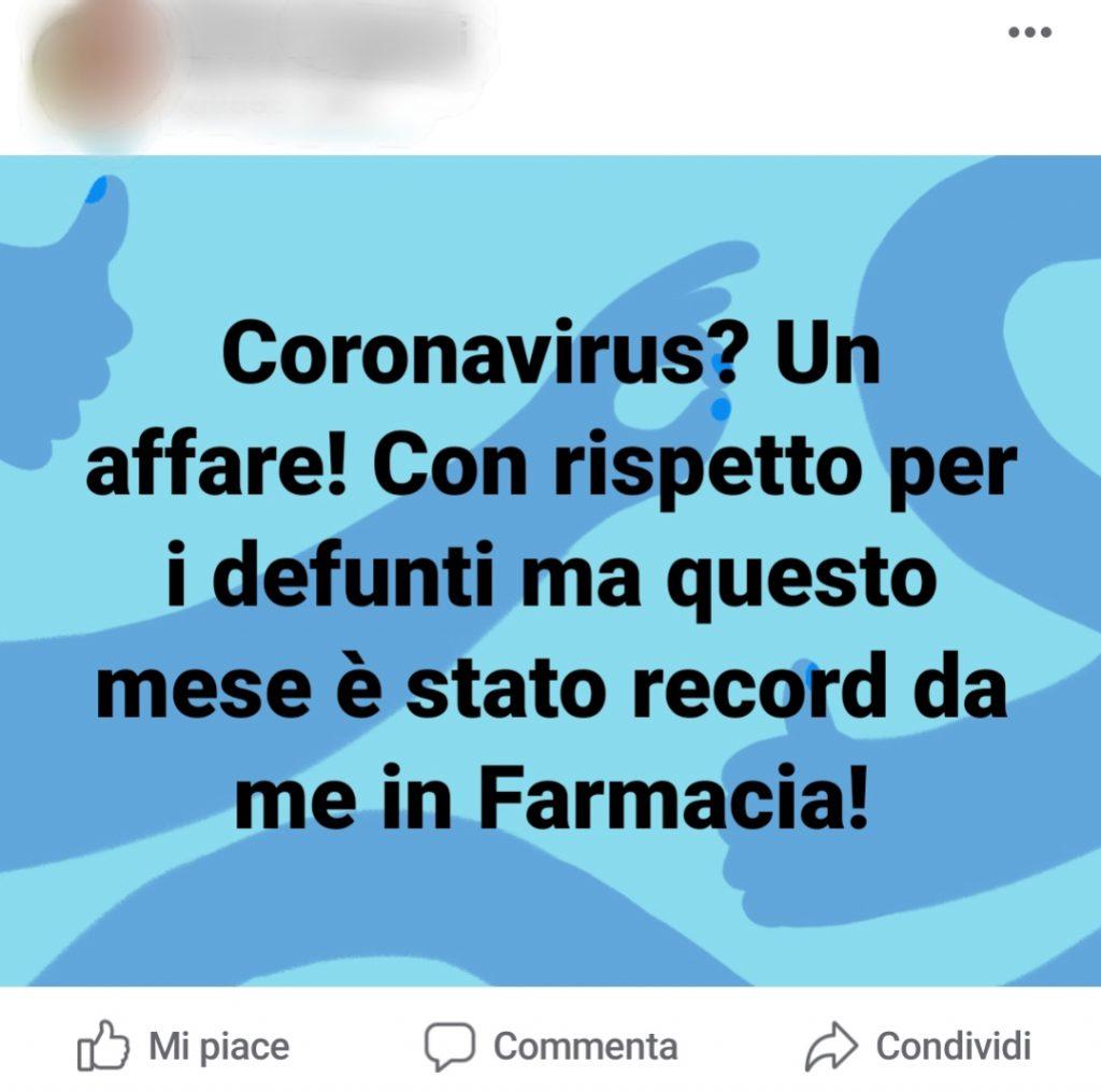 Il post di un noto farmacista pubblicato su Facebook stamattina e poi prontamente cancellato.