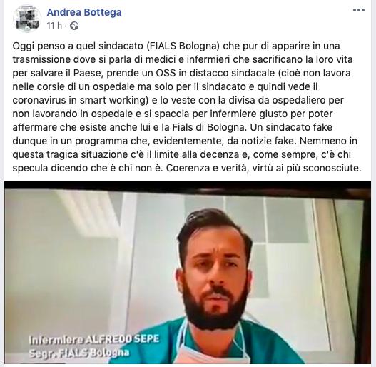 Il post di Andrea Bottega, segretario nazionale di Nursind.