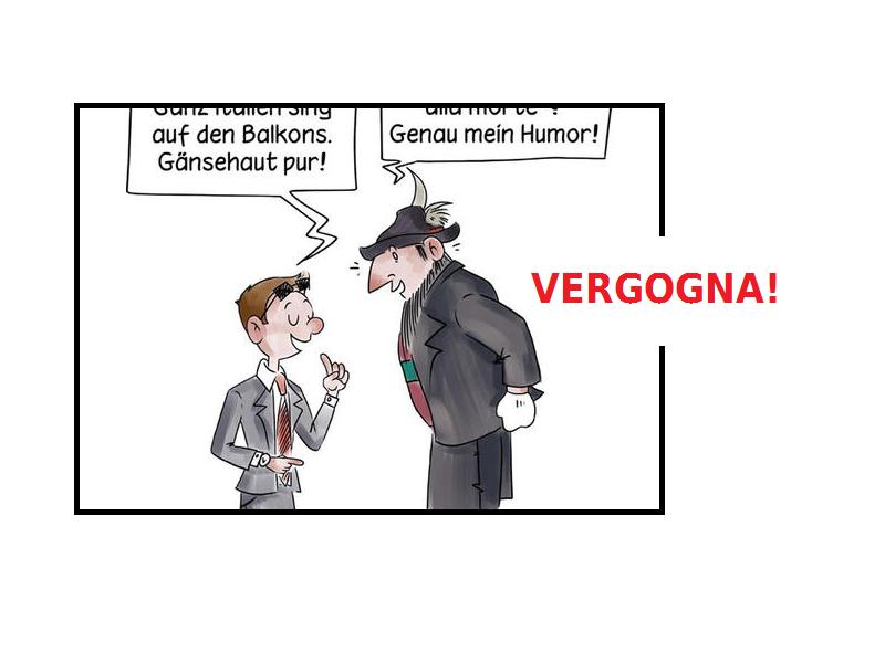 Coronavirus: Vignetta in tedesco deride i morti italiani.