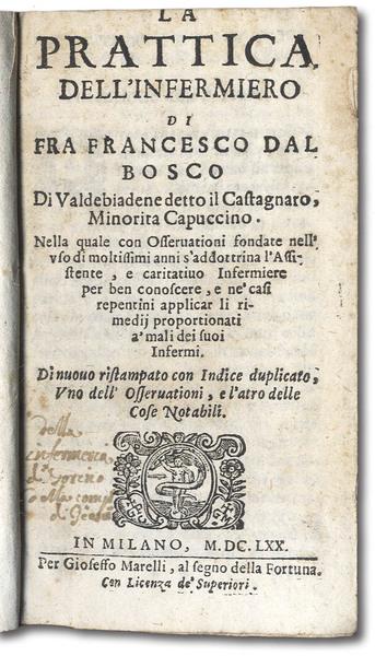"""Il frontespizio del volume """"La pratica dell'infermiero"""" scritto da Fra' Francesco Dal Bosco."""
