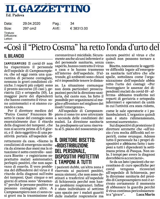 """Il servizio pubblicato su """"Il Gazzettino"""" il 29 aprile 2020."""