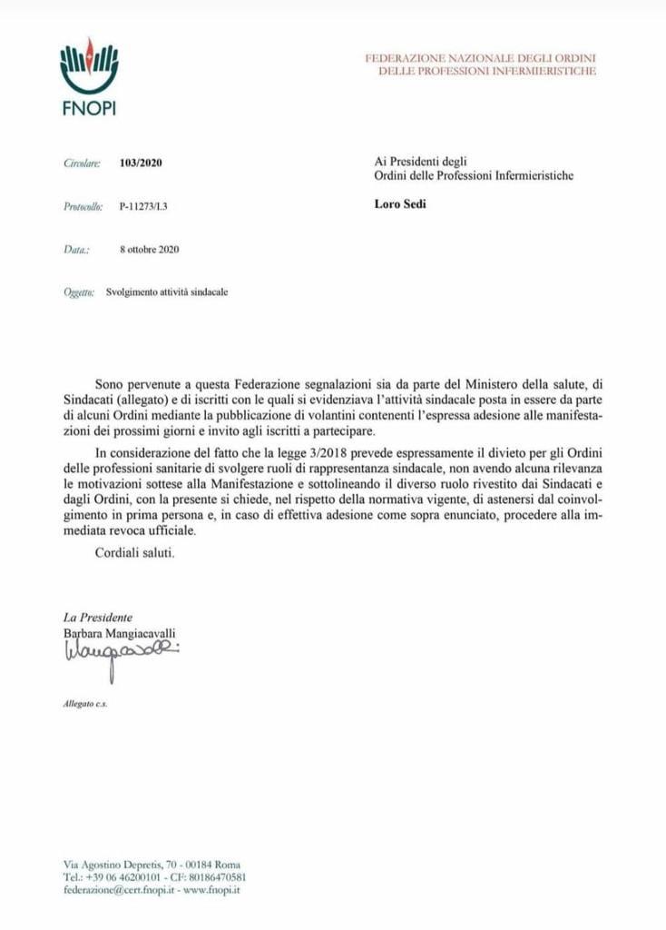 """Le lettera della FNOPI agli OPI provinciali: """"vietato fare sindacato, rappresentate l'Ordine degli Infermieri."""