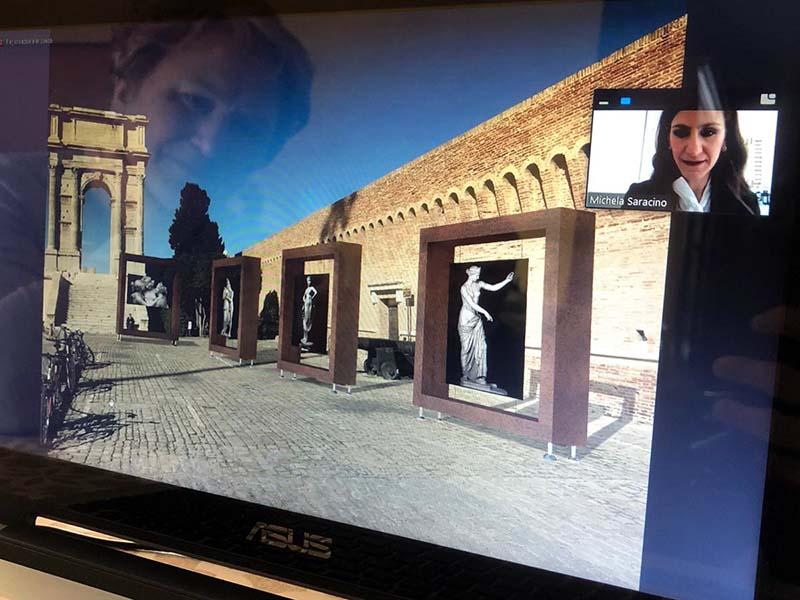 Michela durante la discussione della sua Tesi in Interior Design. In trasparenza la madre Teresa commossa e felice.